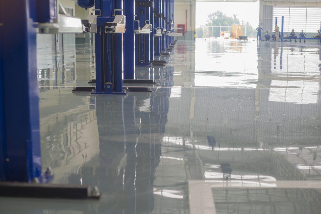 self leveling epoxy on warehouse floor