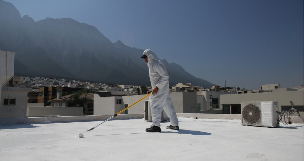 polyaspartic and epoxy coating application on roof